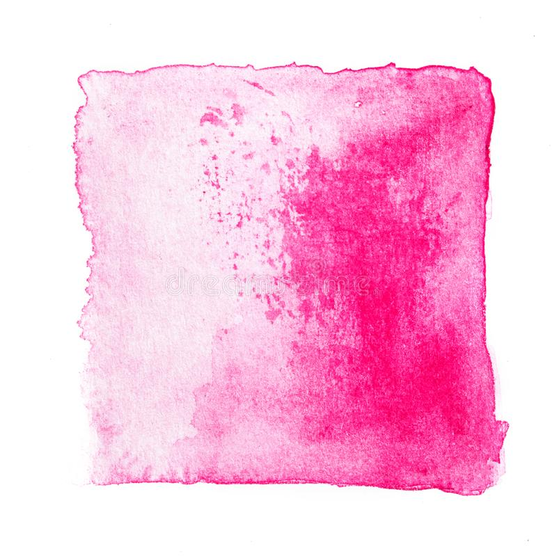 Abstract square watercolor sweet pink color tone hand paint isolated on the white background for creative banner template design stock photo