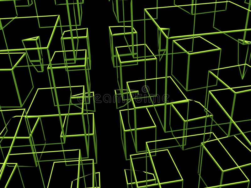 Abstract Squares. Squares in space. Rendered 3D space vector illustration