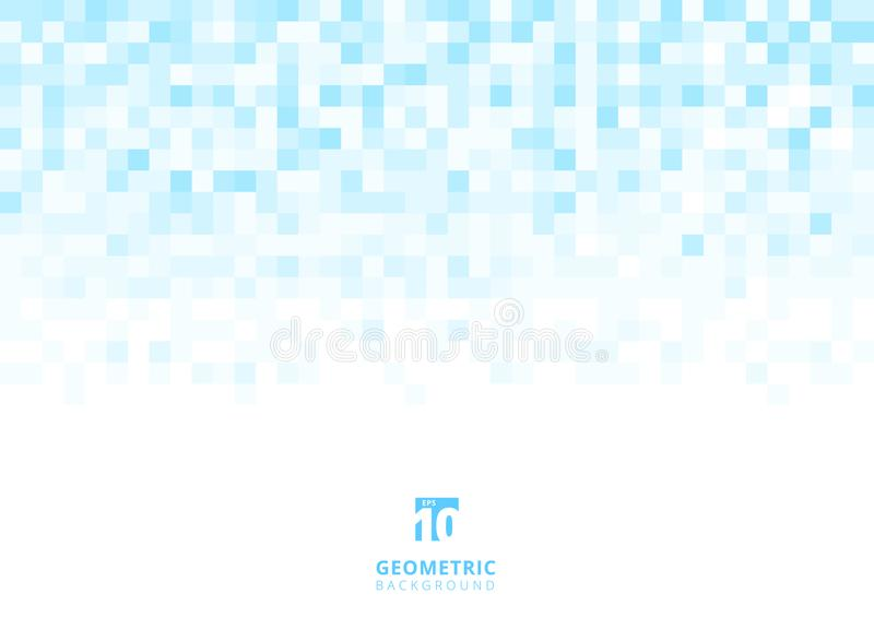 Abstract squares geometric light blue background with copy space. Pixel, Grid, Mosaic. Vector illustration royalty free illustration