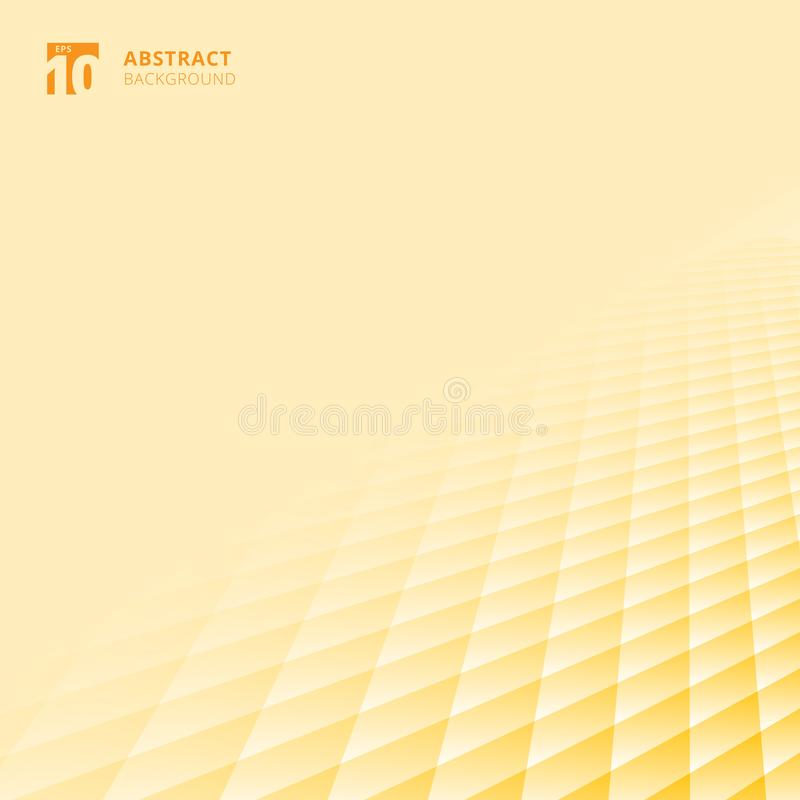 Abstract squares pattern geometric yellow and white color perspective background with copy space. Floor ground grid. Vector illustration stock illustration