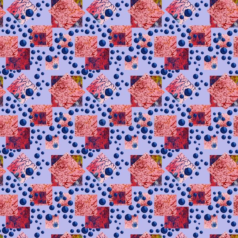 Abstract squares and rhombus seamless pattern Fond géométrique d'aquarelle dans le style de patchwork illustration de vecteur