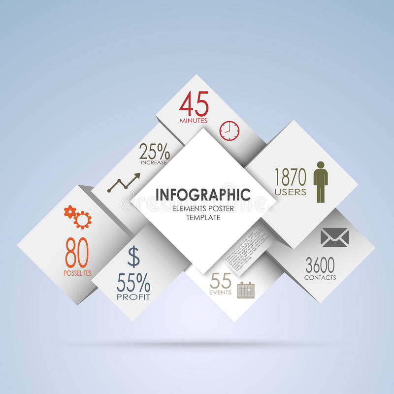 Abstract squares and white cubes info graphic stock illustration
