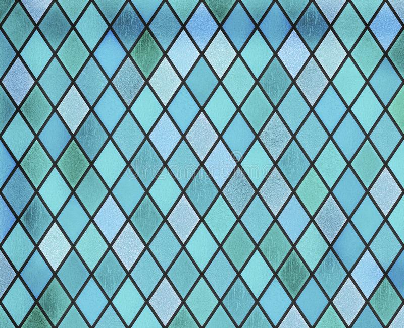 Abstract stained glass blue window pattern. Abstract stained glass blue window royalty free illustration