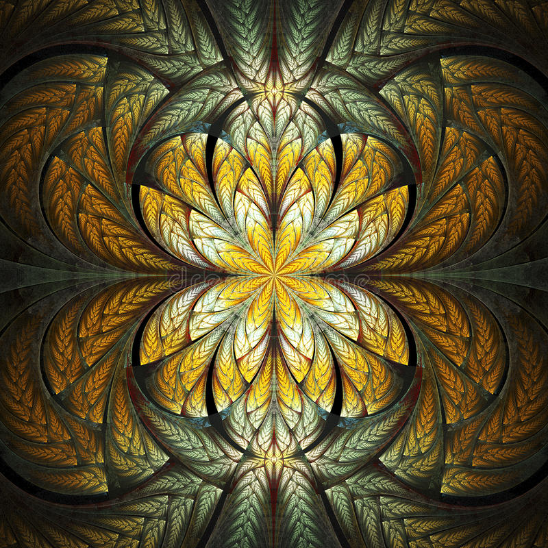 Fractal Black Flower Free Stock Photo: Abstract Stained Glass With Floral Pattern On Black