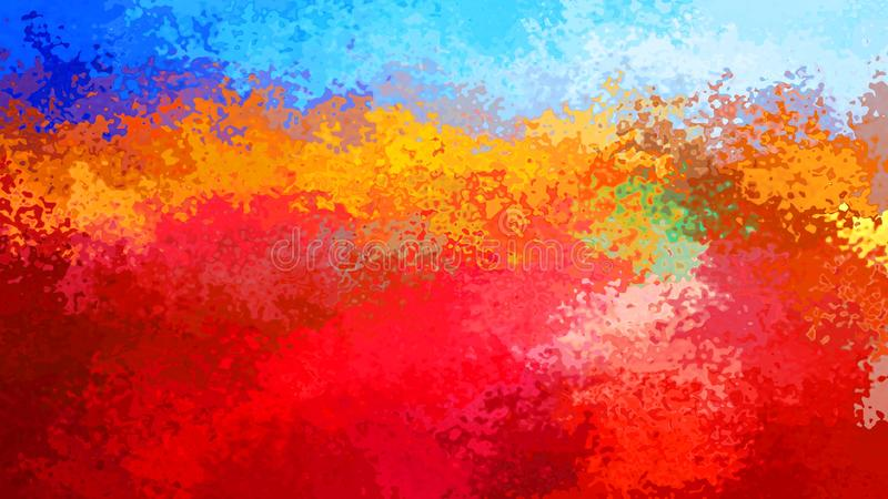 Abstract stained pattern rectangle background blue sky over fiery red orange color - modern painting art - watercolor effe vector illustration