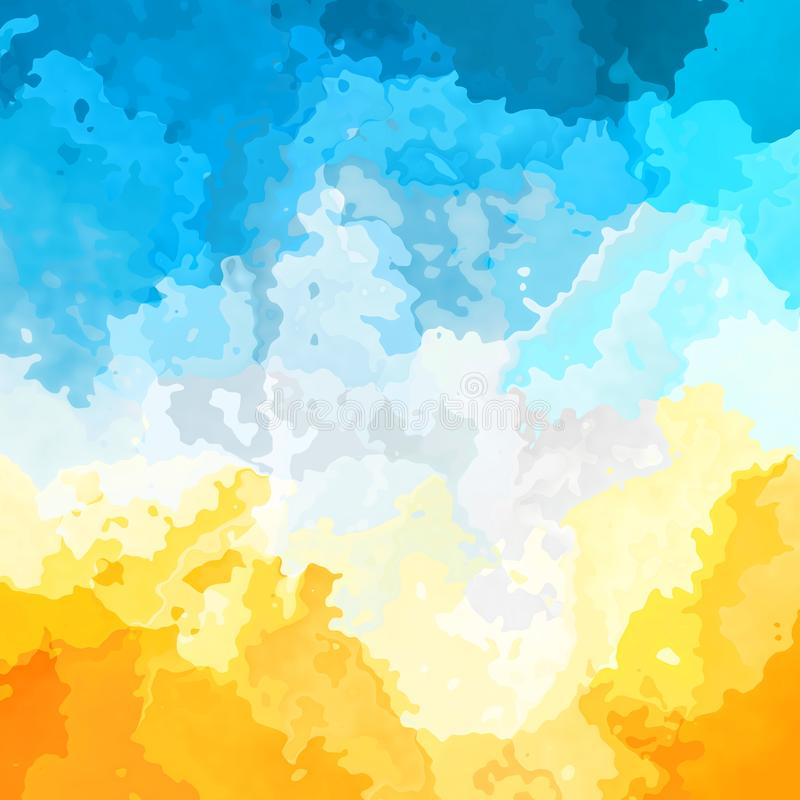Abstract stained square background sunny yellow sky blue white clouds color - modern painting art - watercolor. Abstract stained pattern texture square stock illustration