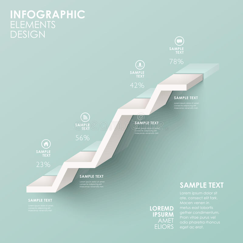Abstract stair flow chart infographics. Modern vector abstractstair flow chart infographic elements stock illustration