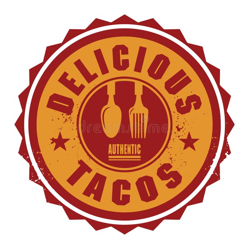 Abstract stamp or label with the text Delicious Tacos royalty free illustration