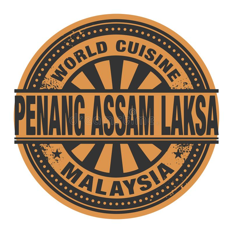 Abstract stamp or label with the text World Cuisine, Penang assam laksa written inside. Vector illustration vector illustration