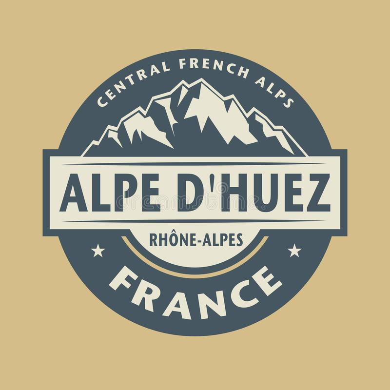 Free Abstract Stamp With The Name Of Town Alpe Dhuez In France Stock Photos - 133906843