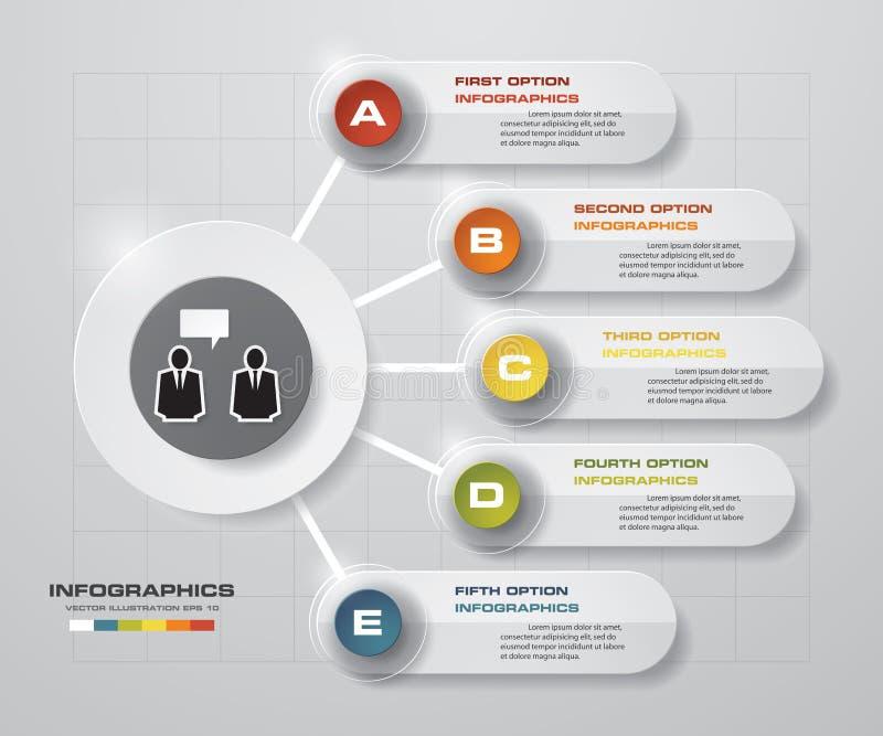 Abstract 5 stappen bedrijfspresentatiemalplaatje De bannersmalplaatje van het ontwerp schoon aantal/grafische of websitelay-out vector illustratie