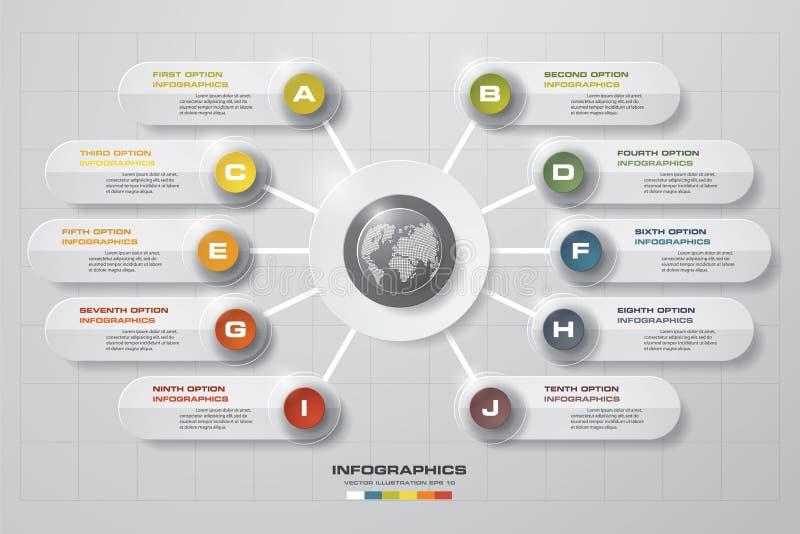 Abstract 10 stappen bedrijfspresentatiemalplaatje De bannersmalplaatje van het ontwerp schoon aantal/grafische of websitelay-out vector illustratie