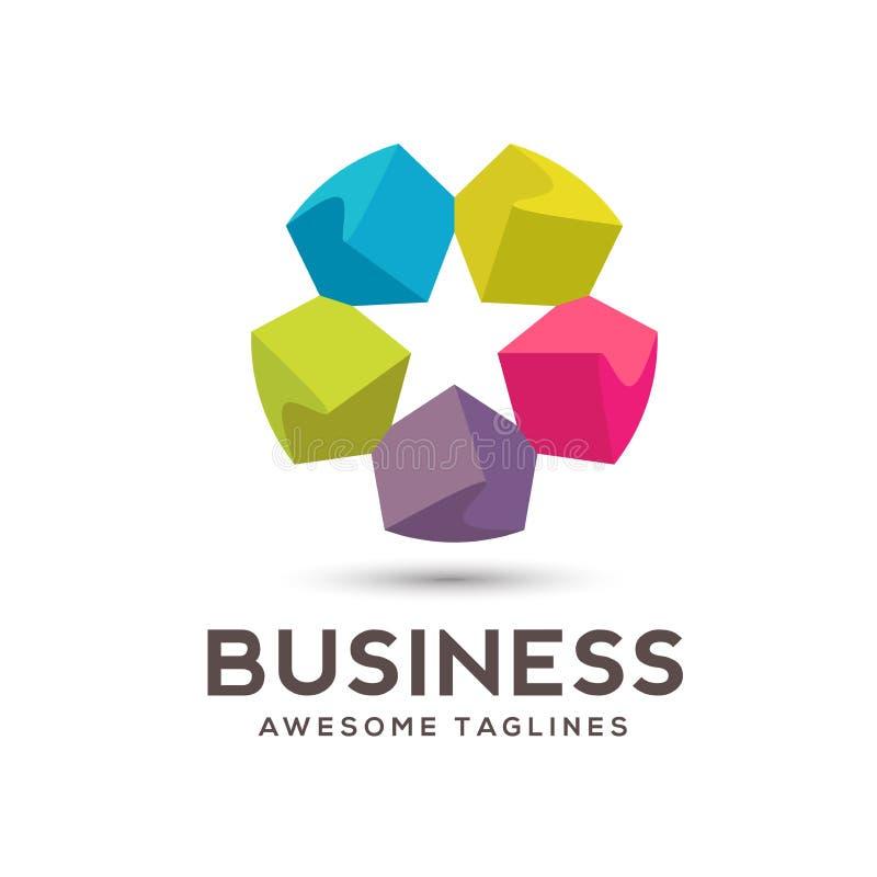Abstract star Color flower logo stock illustration