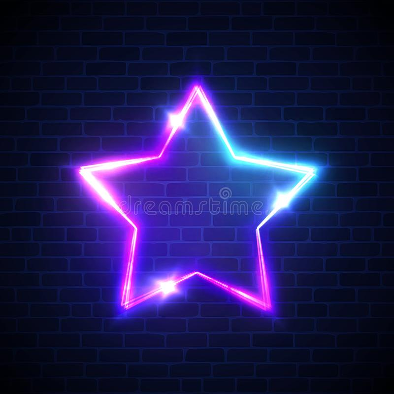 Abstract star neon signage. Techno glowing electric game frame on dark blue brick wall background. Night club sign. 3d retro light starry sign board. Colorful vector illustration