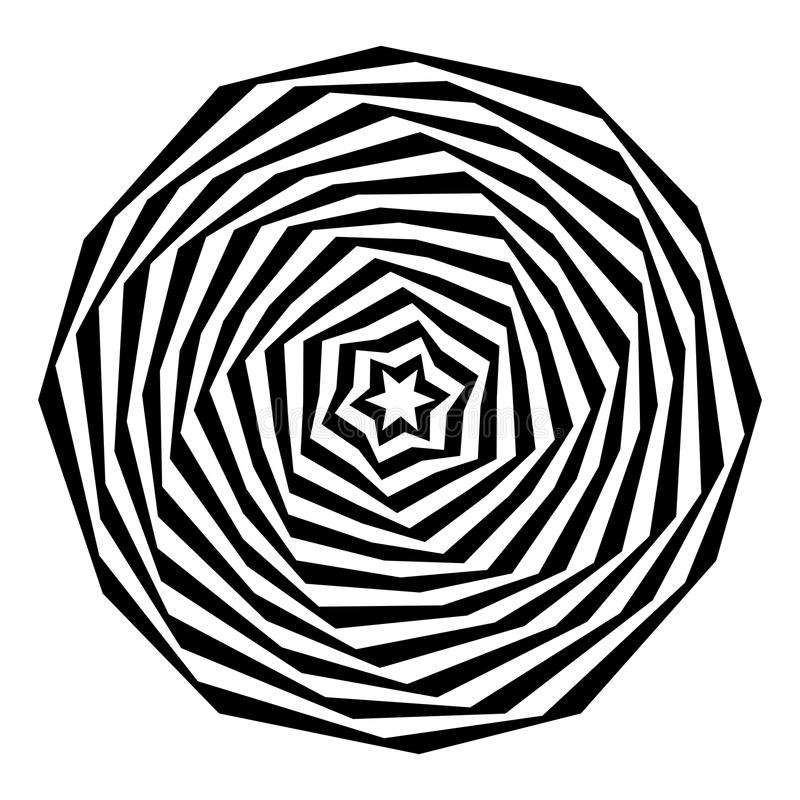 Abstract star Spiral Black and White Pattern. An illustrated spiral hypnotic pattern, isolated on a white background vector illustration