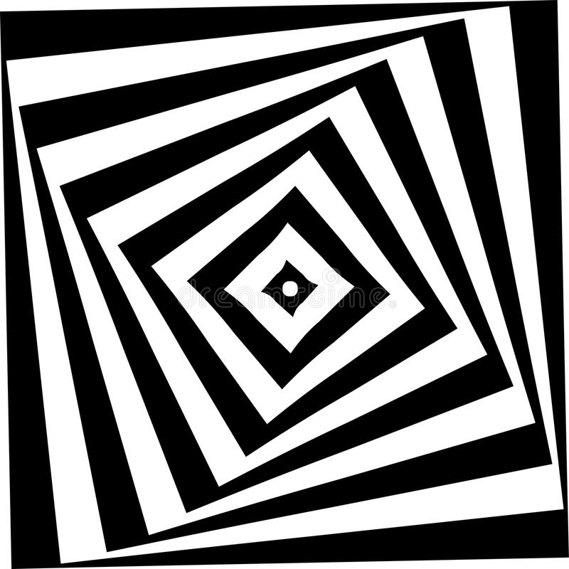 Abstract star Spiral Black and White Pattern stock illustration