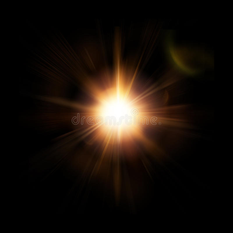 Abstract Star, Sun With Lens Flare on Dark Background. Orange Red Rays Shining and Sparkling. Square Photo. stock illustration