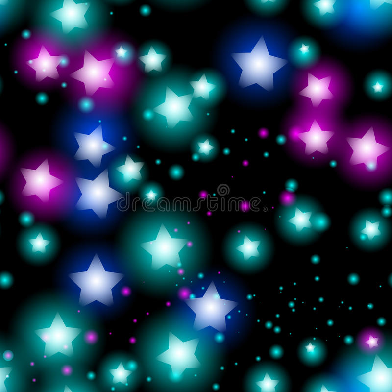 Abstract starry seamless pattern with neon star on black background. vector illustration