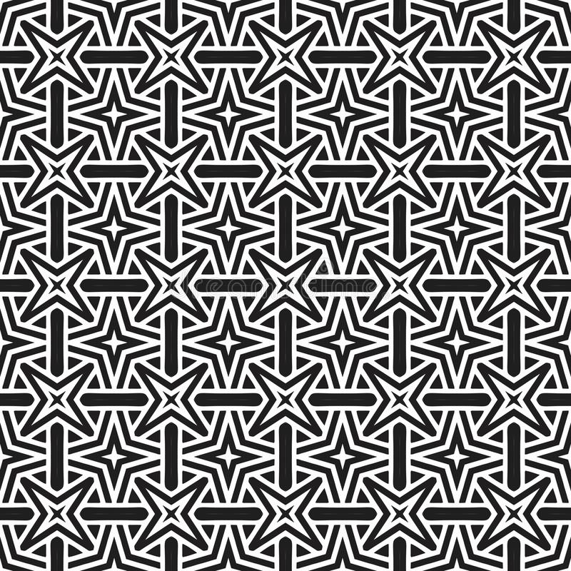 Abstract stars geometrical double imposed design seamless background pattern illustration in black n white royalty free stock images