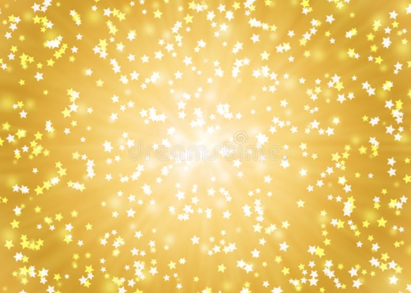 Abstract Stars in Golden Background stock illustration