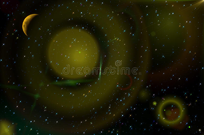 Abstract stars sky moon background. Colorful abstract space background with the moon and stars in the night sky. Can be used as wallpaper stock image