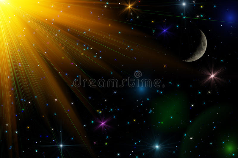 Abstract stars sky moon background. Colorful abstract space background with the moon, stars and sun. Can be used as wallpaper stock photography