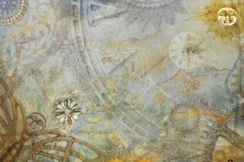Abstract Steampunk Background. Steampunk abstract machine cogs background royalty free stock image