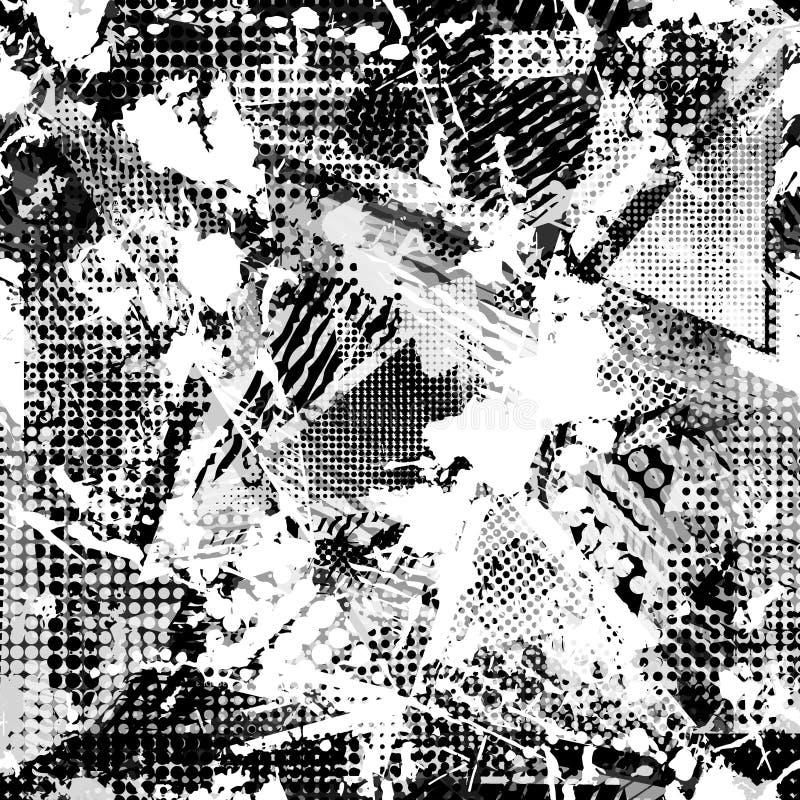 Abstract stedelijk naadloos patroon De textuurachtergrond van Grunge Geschaafde dalingsnevels, driehoeken, punten, zwart-witte ne vector illustratie