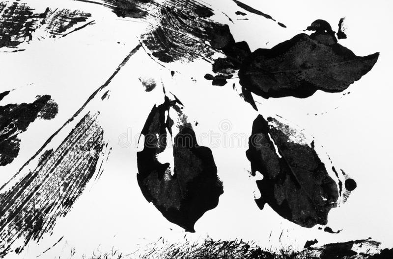 Abstract Stencil Printing, Black Ink Painting Stock Photo