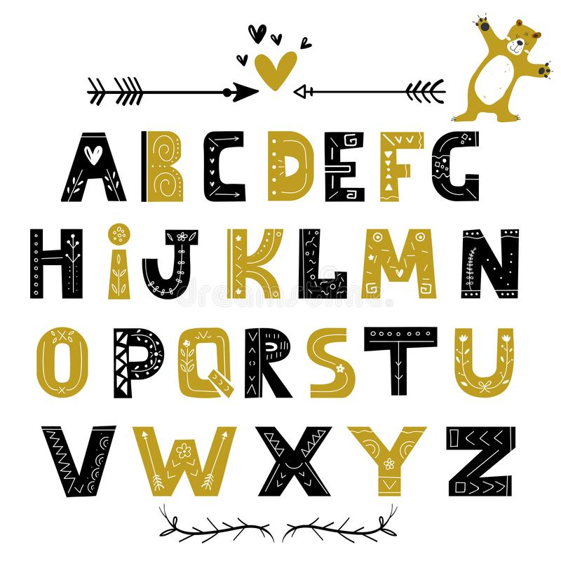 Abstract stijlvol alfabet in scandinavische stijl Handgetekende letters, stijlvol abc Creative Kids-lettertype vector illustratie