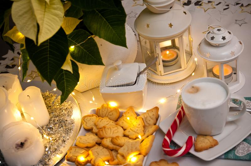 Christmas and coffee still life abstract with warm led lights royalty free stock photography