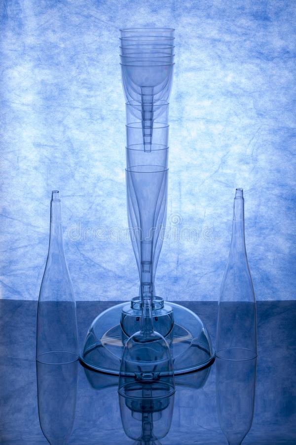 Abstract still life with transparent objects stock images