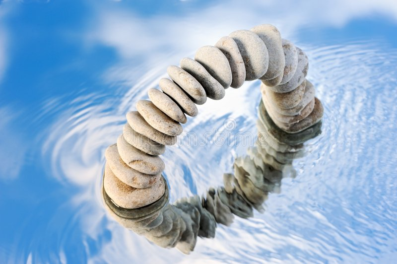 Abstract stone wreath and sky royalty free stock image