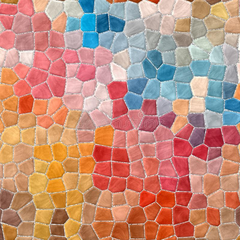 Abstract stony mosaic tiles texture background with gray grout - full color spectrum - beige, red, orange, b vector illustration