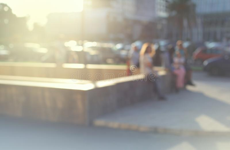 Abstract street city light blur background. Soft focus. Group of people. Abstract street city light blur blinking background. Soft focus. Group of people stock photography