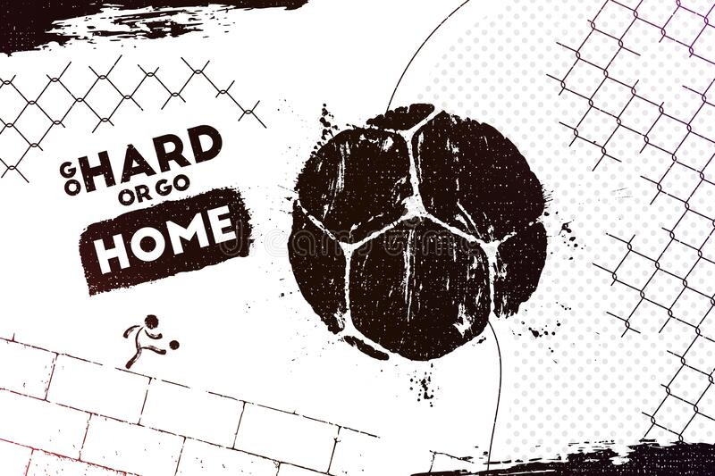 On The Stadium Abstract Football Or Soccer Backgrounds: Grunge Football Or Soccer Ball Background Stock Vector