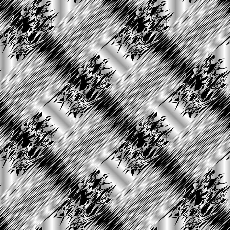Abstract striped black and white 3d seamless pattern. Vector grunge background. Modern ornaments with diagonal stock illustration