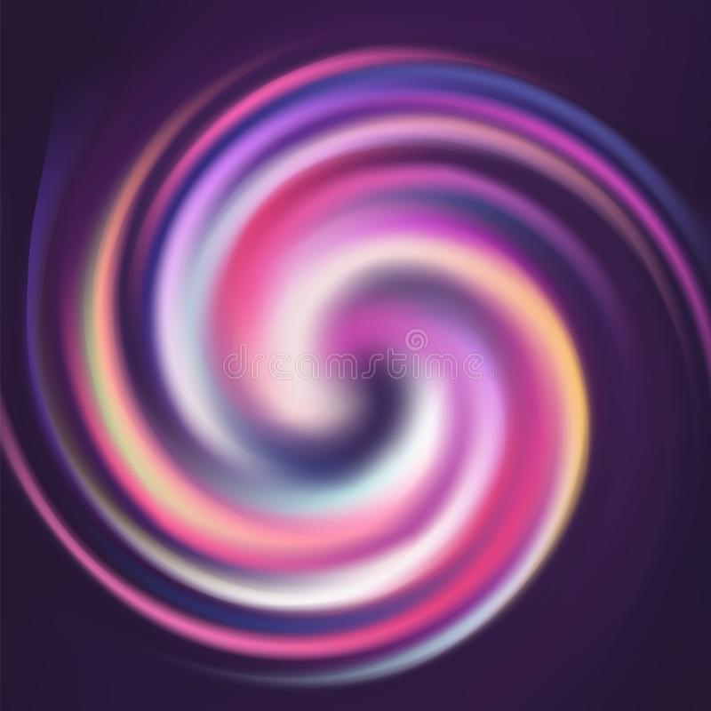 Abstract striped colorful spin spiral curled background stock illustration
