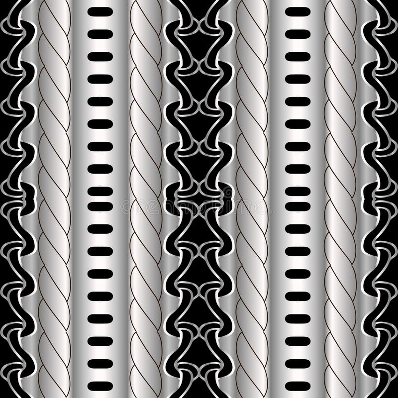Abstract striped geometric black and silver vector seamless borders pattern. Tribal ethnic style ornamental 3d background. Surface repeat decorative backdrop royalty free illustration