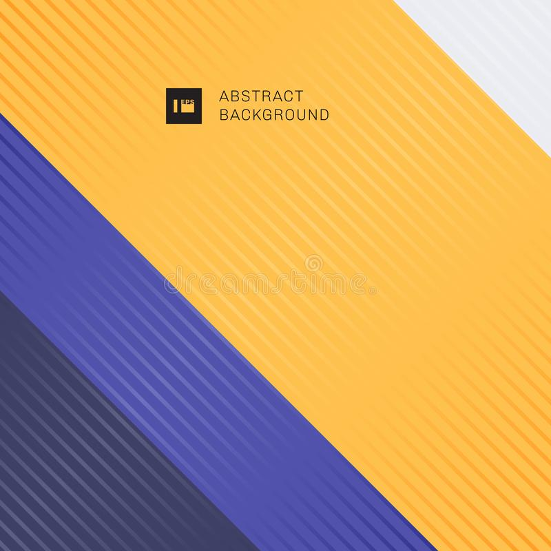 Abstract striped lines diagonal pattern on yellow, purple colors background royalty free illustration