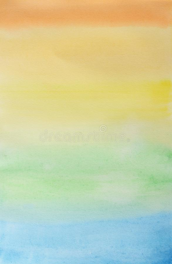 Abstract striped rainbow watercolor background. Multicolored aquarelle colorful wallpaper. Yellow, orange, green, light blue, blue stock photo