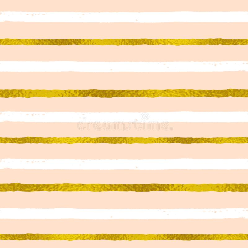 Abstract striped seamless pattern with white and golden strips vector illustration