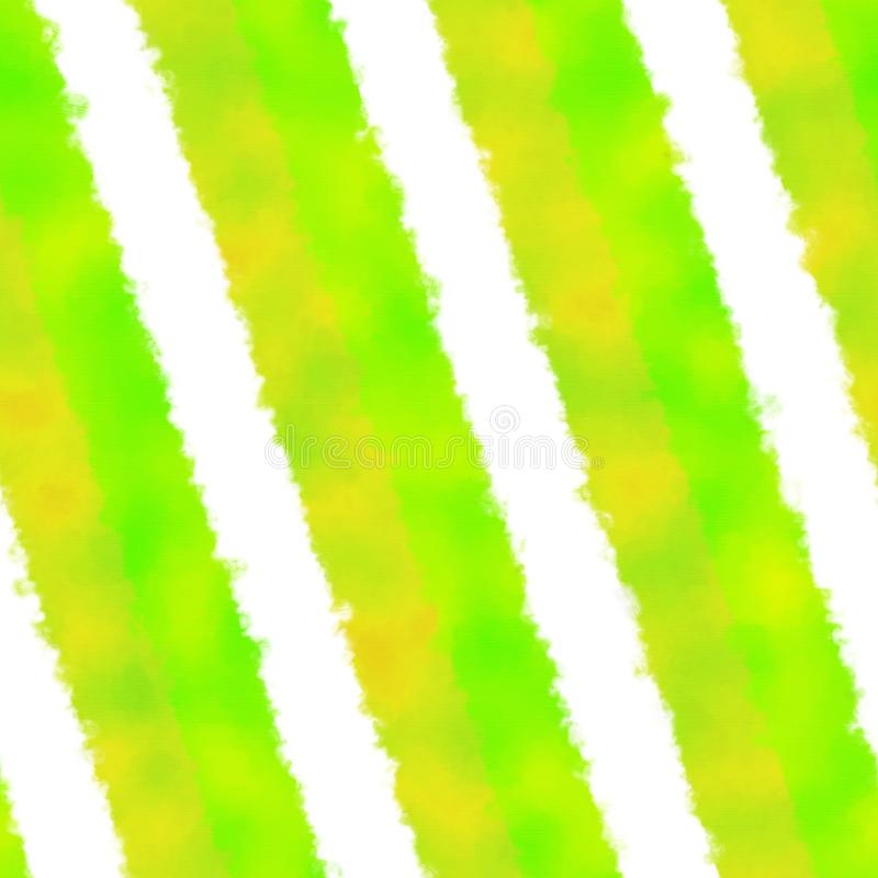 Abstract oblique yellow green white striped seamless pattern with watercolor painting impression. Abstract oblique striped lime green yellow white seamless vector illustration
