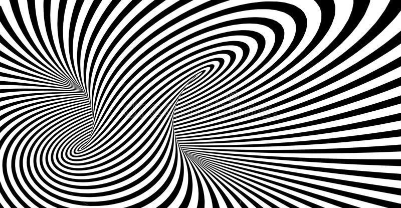 Abstract striped spiral vector black and white background vector illustration