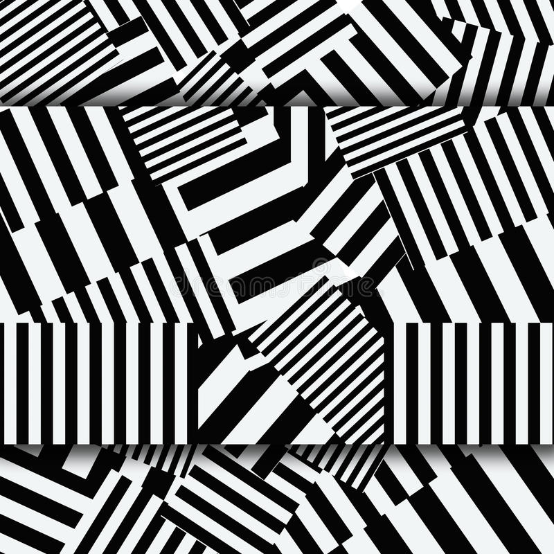 Abstract striped textured geometric seamless patter stock illustration
