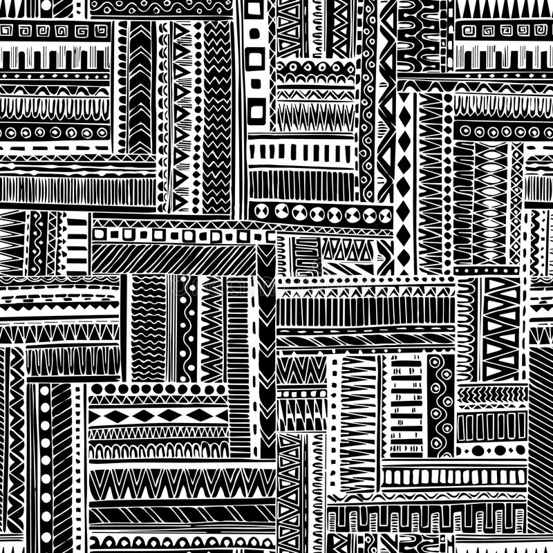Abstract striped textured geometric tribal seamless pattern. Vector black and white background. Endless texture can be used for wa. Abstract striped textured and vector illustration