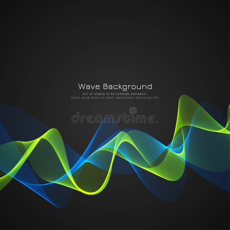Abstract stylish glossy wave dark background royalty free illustration