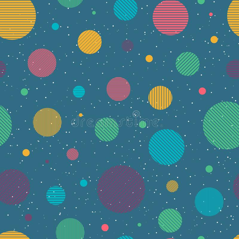Abstract stylish multicolored circles seamless pattern. Circles are formed by stripes. Vertical, horizontal and diagonal stripes. White dots scattered around stock illustration