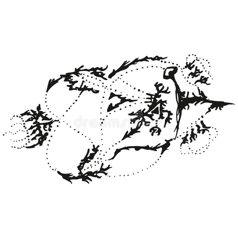 Abstract stylized B&W pointer