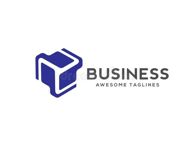 Abstract stylized 3d cube technology logo stock illustration